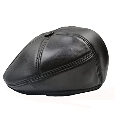 27ab042a5faa9e Yosang Men's Genuine Leather Driving Cap Flat Cap Cabby Hats Caps Retro  Newsboy Cap Black at Amazon Men's Clothing store: