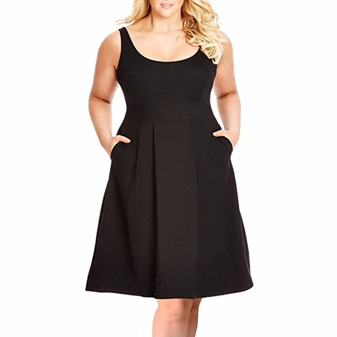 Plus Size Dresses for Women,Casual Sleeveless Fit and Flare A-line Sundress