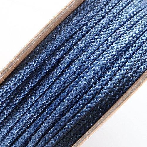Tribal Flame Trim (BEADNOVA 2mm Silver Blue Color Premium Grade Nylon Beading Thread String Rope Roll Macrame Cord 13 Yard 40 Feet 12m)
