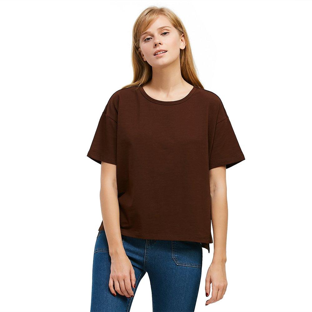 ZAN.STYLE Women's Short Sleeve Slub Cotton Boxy T Shirt Oversized Tops Medium Coffee