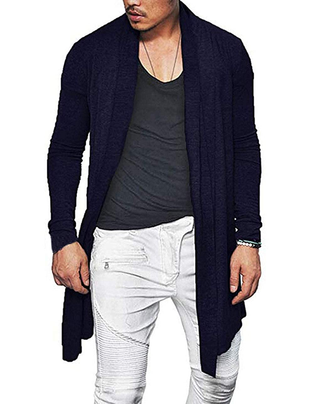 Mens Fashion Designer Knitwear Drape Top Mens Long Sleeve Cardigans Round Collar Shawl Men Outerwear
