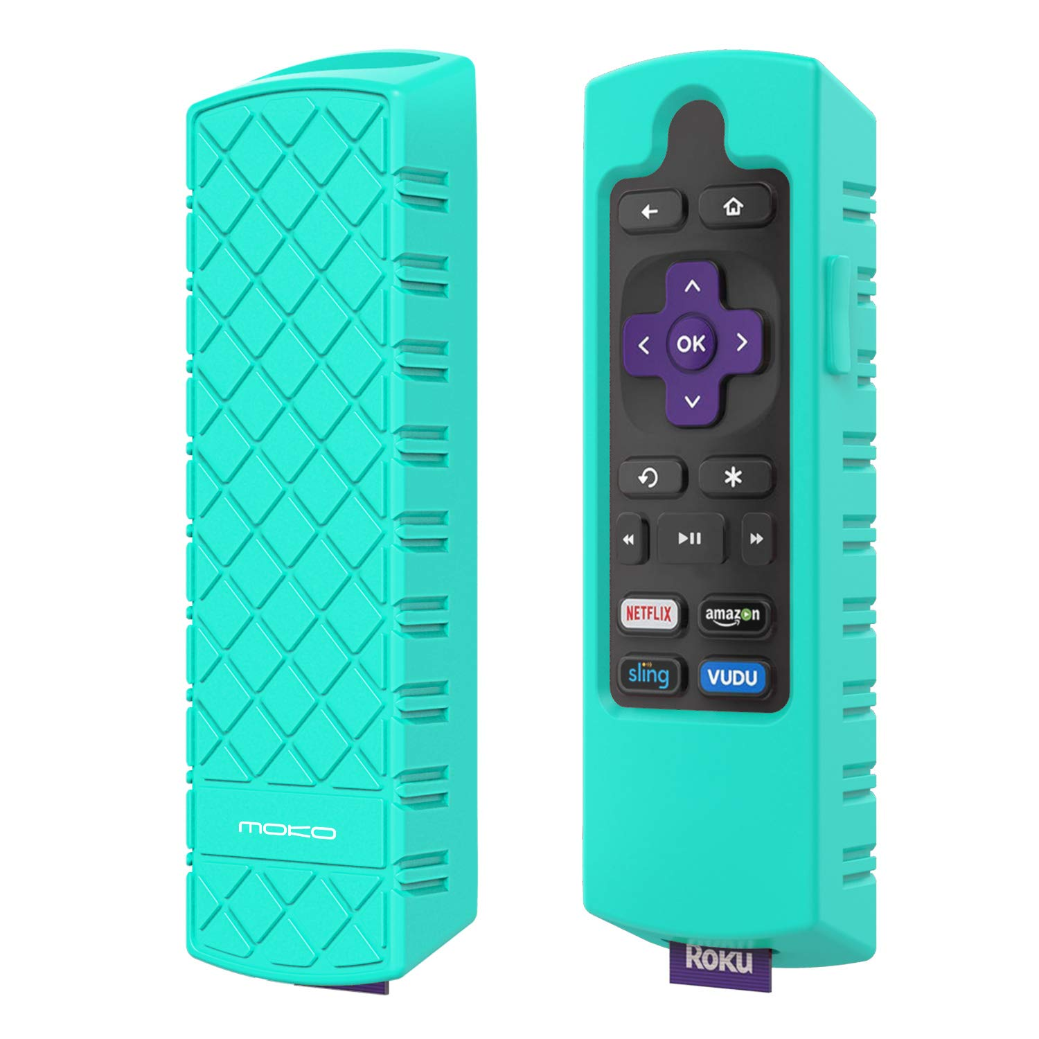 MoKo Protective Case Replacement for Roku Express/Streaming Stick Remote, Non-Slip Silicone Cover Fit Roku Express(3900)/Express+(3910), Streaming Stick(3800)/Stick+(3810) Remote Control - Blue PartialUpdate