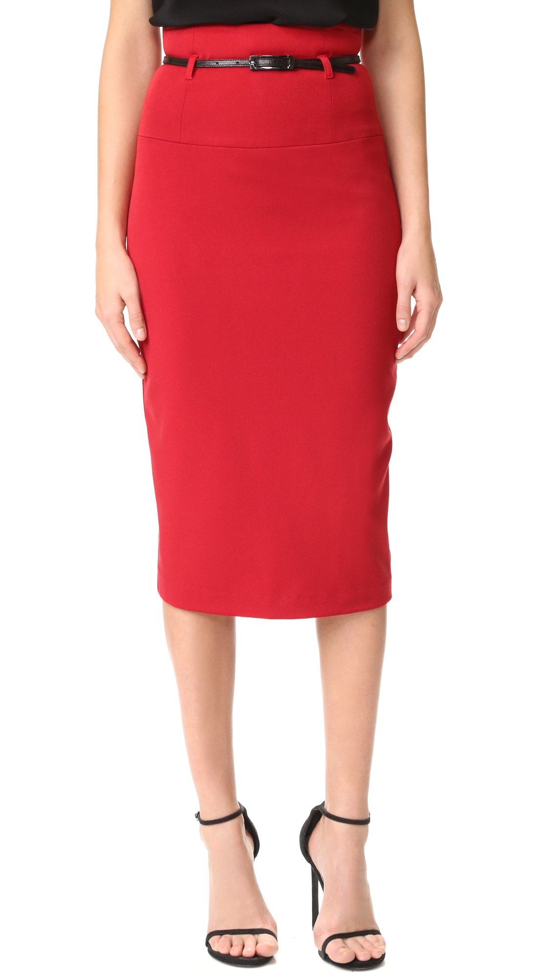 Black Halo Women's High Waisted Pencil Skirt, Red, 2