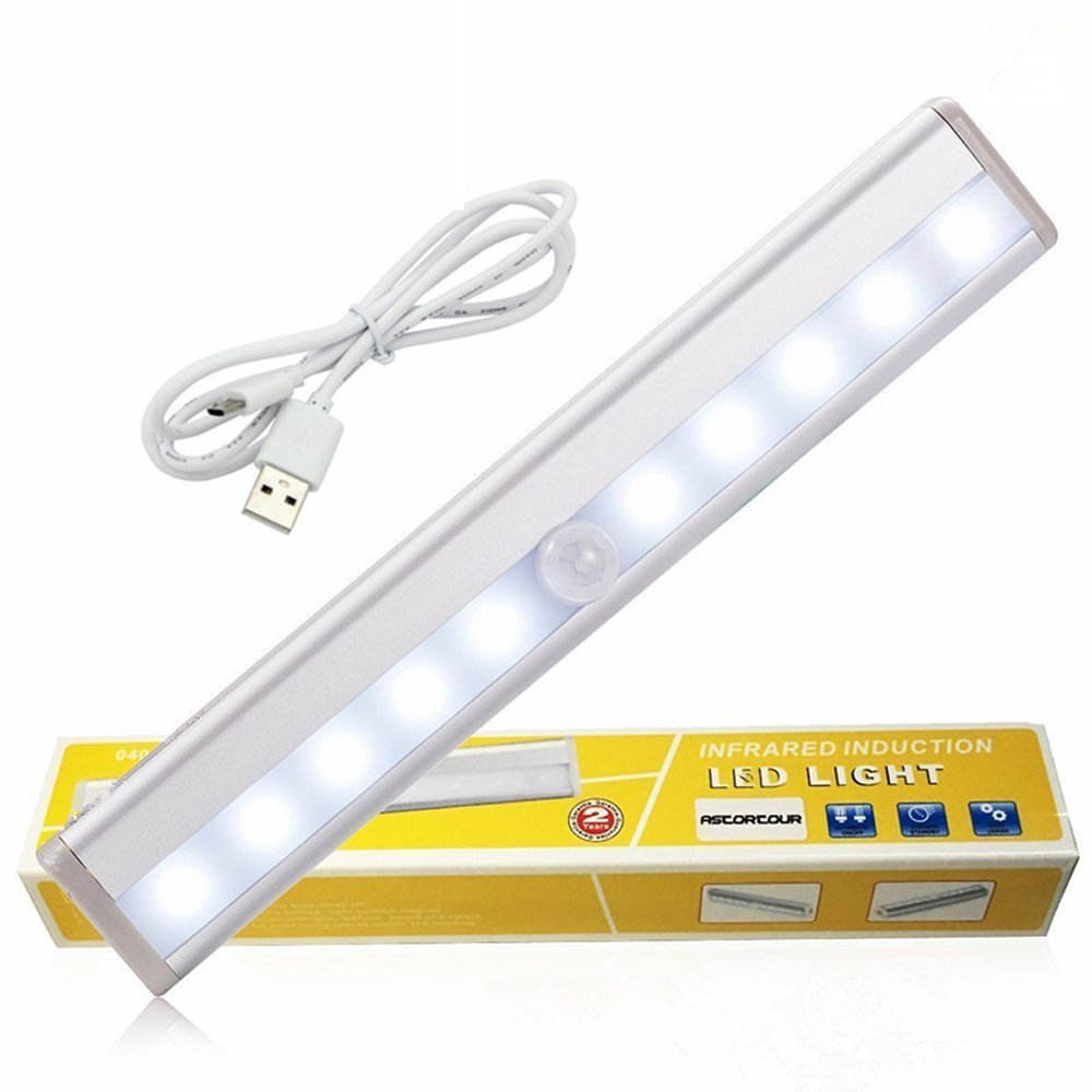 GEREE LED Cabinet Lights, USB Rechargeable Wireless PIR Motion Sensing Light Bar with Magnetic Strip Wall Light,White Light