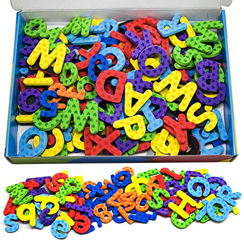 Magnetic Letters and Numbers, Fun Alphabet Kit for Kids, ABC Educational Toys, Refrigerator Magnets with Dry Erase Magnetic Board Preschool Toy - 112PCS