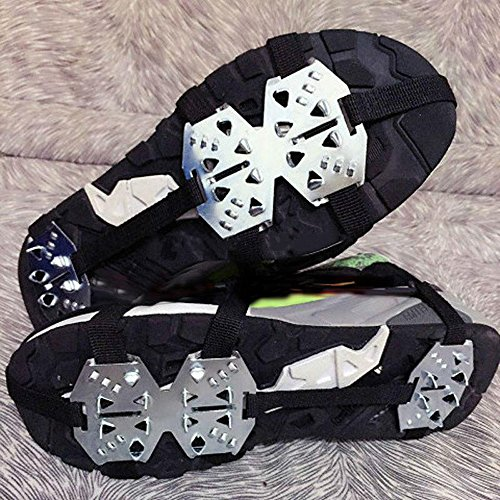 Od-sports 1 Pair 18 Teeth Unisex Multi-function Anti-slip Ice Cleat Shoe Boots Traction Crampon Chain Spike Non-slip for Climbing Walking Travel by Od-sports (Image #1)
