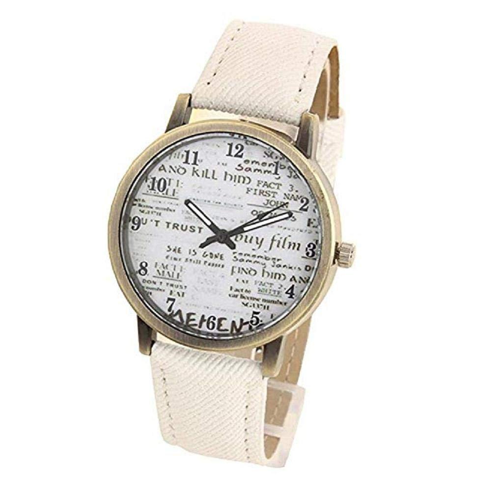Reloj de Cuarzo Unisex para Mujer para Hombre, Reloj análogo único de Moda analógica, Tela de Mezclilla. Relojes de diseño de Noticias con Estuche Redondo, ...