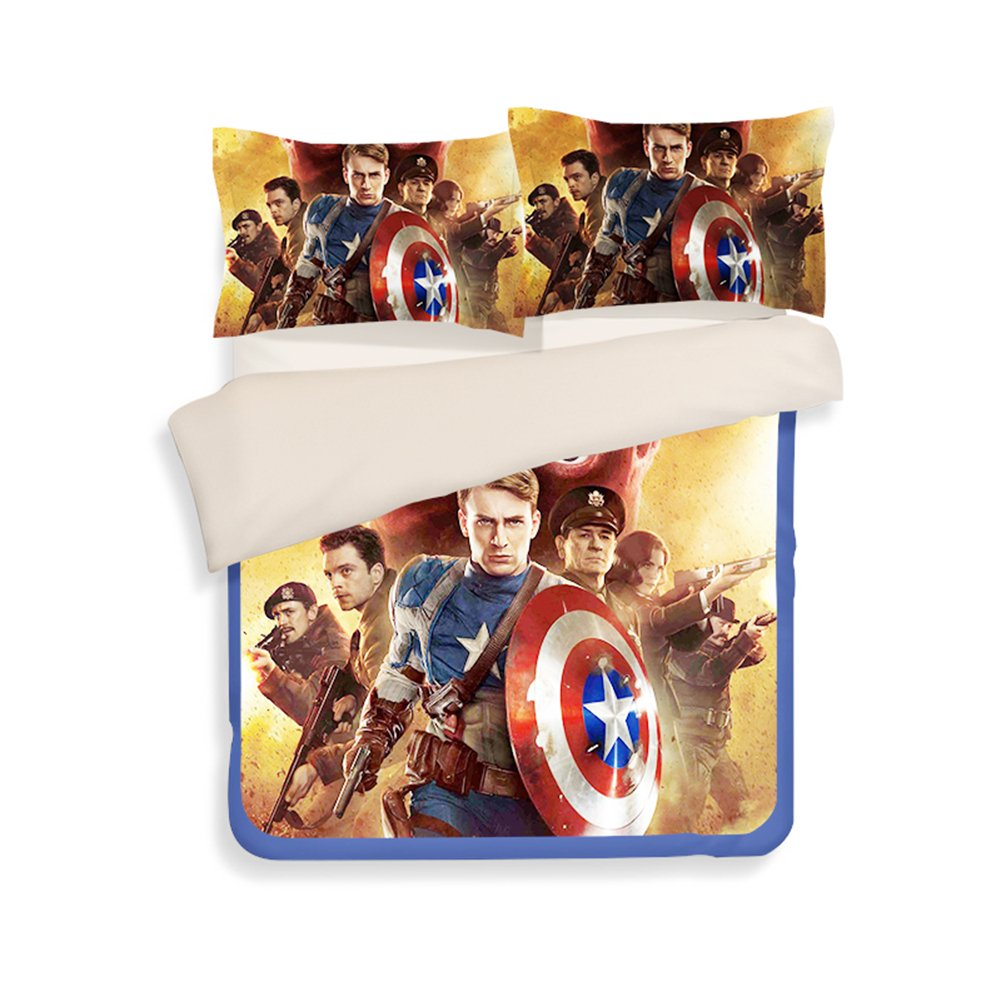3D Captain America Bedding Sets - Sport Do Best Gifts for Movie Funs 100% Polyester Skinclose Fitted Sheet 4PC Queen