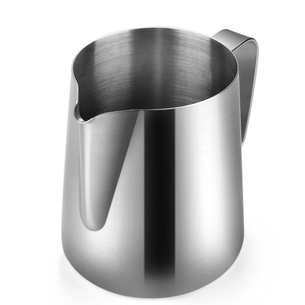 Flexzion Stainless Steel Milk Frothing Pitcher - Milk Boiler Cup Jug Creamer Accessories Suitable for Barista, Espresso Machines, Cappuccino Coffee, Milk Frother, Latte Art 12 oz (350 ml)
