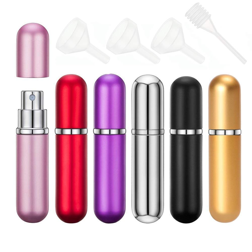 6 Pieces Perfume Atomiser Bottles MissSpicy Refillable Travel Size Mini Empty Spray Bottle Set with Funnel and Pipette, 6ml