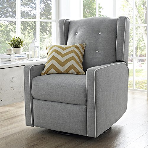 Baby Relax Mikayla Swivel Gliding Recliner Gray Linen