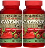 Piping Rock Ultra Max Cayenne Plus 2 Bottles x 100 Quick Release Capsules Herbal Supplement