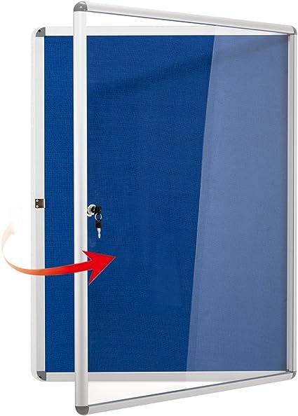 Swansea Enclosed Bulletin Board Blue Fabric Lockable Noticeboard Glass Display Board For Office School 67x50cm 4xa4 Amazon Co Uk Office Products