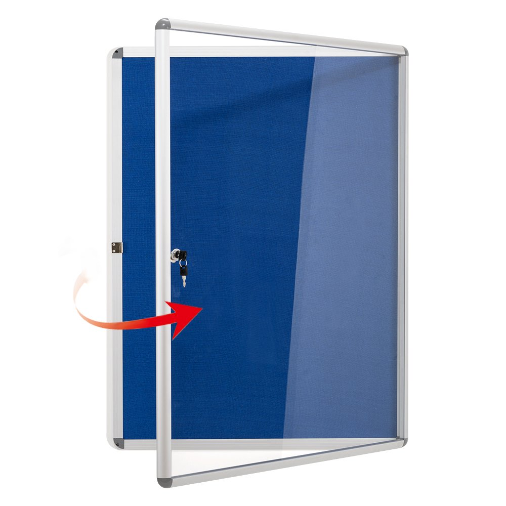 Swansea Lockable Noticeboard Blue Fabric Bulletin Boards Cabinet for Office School 38''x 28'' (9xA4)