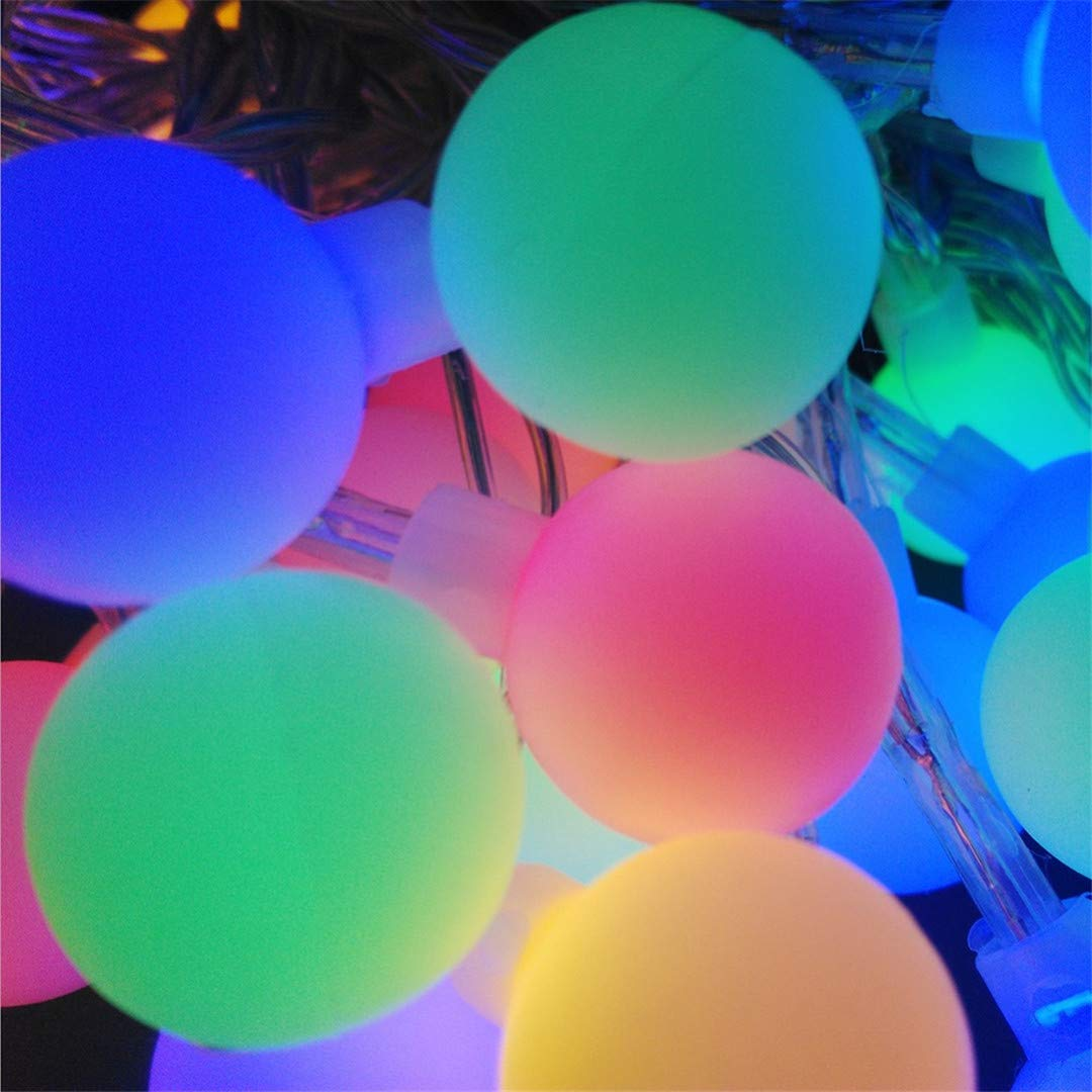 BGFHDSD New 5M 50 LED Colorful Ball String Lights AA Battery Operated Fairy Party Wedding Christmas Flashing LED Home Decoration RGB
