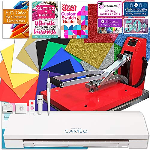 Silhouette Cameo 3 Bluetooth Heat Press T-Shirt Business Bundle with 15
