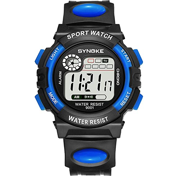 YONGMEI Reloj Pantalla Digital Niño Niño Mujer Estudiante Reloj Color Luminoso Reloj Despertador Impermeable Sincronización Multifunción (Color : Azul): ...