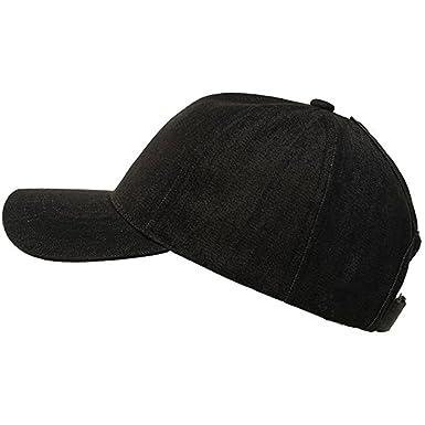 0cf73afd Alljoin Messy Buns Damaged Denim Fabric with Ponytail Baseball Cap for Women  Men (Black Cowboy