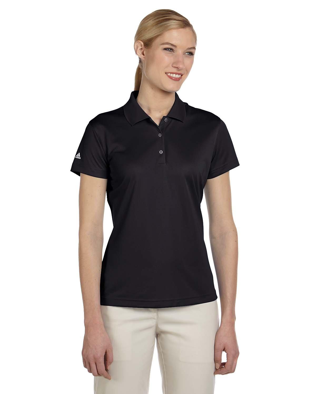 adidas Golf Ladies ClimaLite Pique Short-Sleeve Polo - Black A131 S