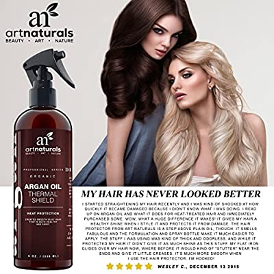Art Naturals Thermal Hair Protector 8.0 Oz - Best Protective Spray against Flat Iron Heat - Contains 100% Organic Argan Oil Preventing Damage, Breakage & Split Ends - Made in the USA - Sulfate Free