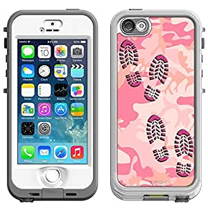 Skin Decal for LifeProof Nuud Apple iPhone 5 Case - Footprints on Pink Camouflage