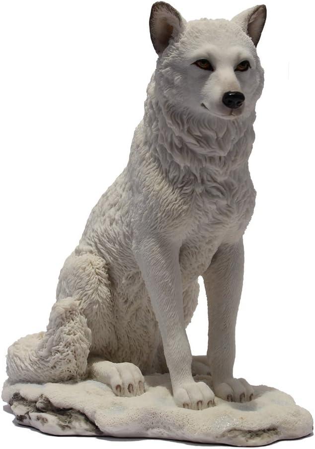 7.75 Inch Wolf Sitting in Snow Decorative Statue Figurine, White