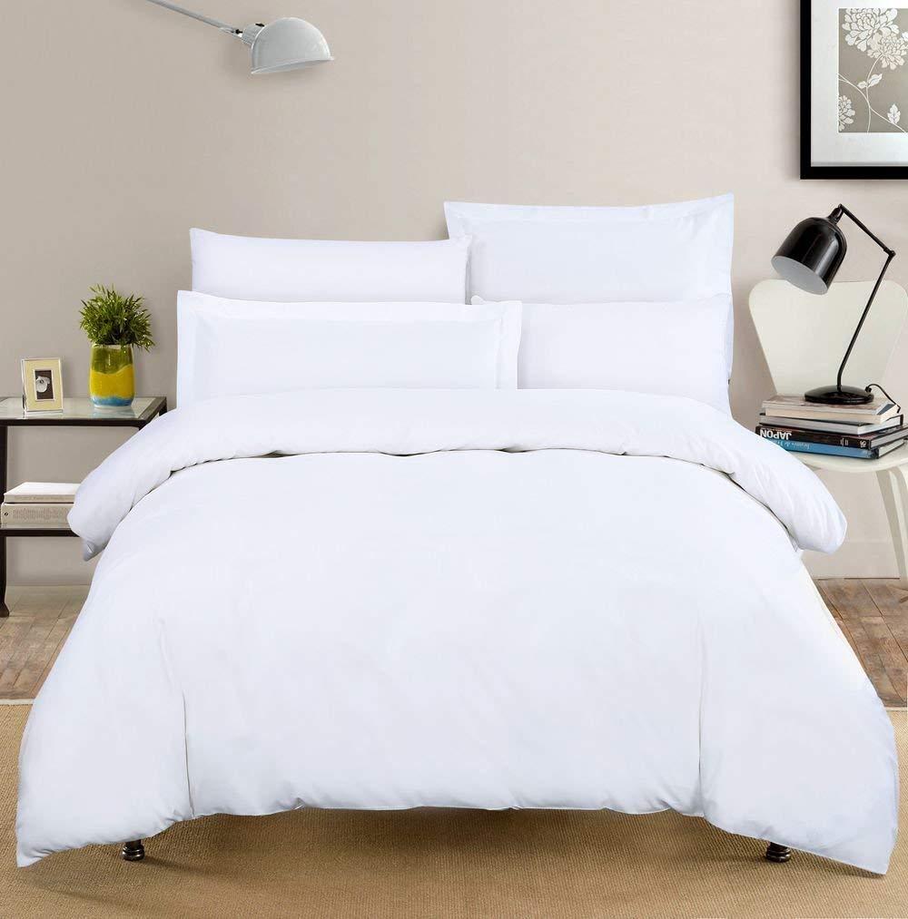 Egyptian Cotton DOUBLE Duvet Cover Bed Set PLAIN WHITE