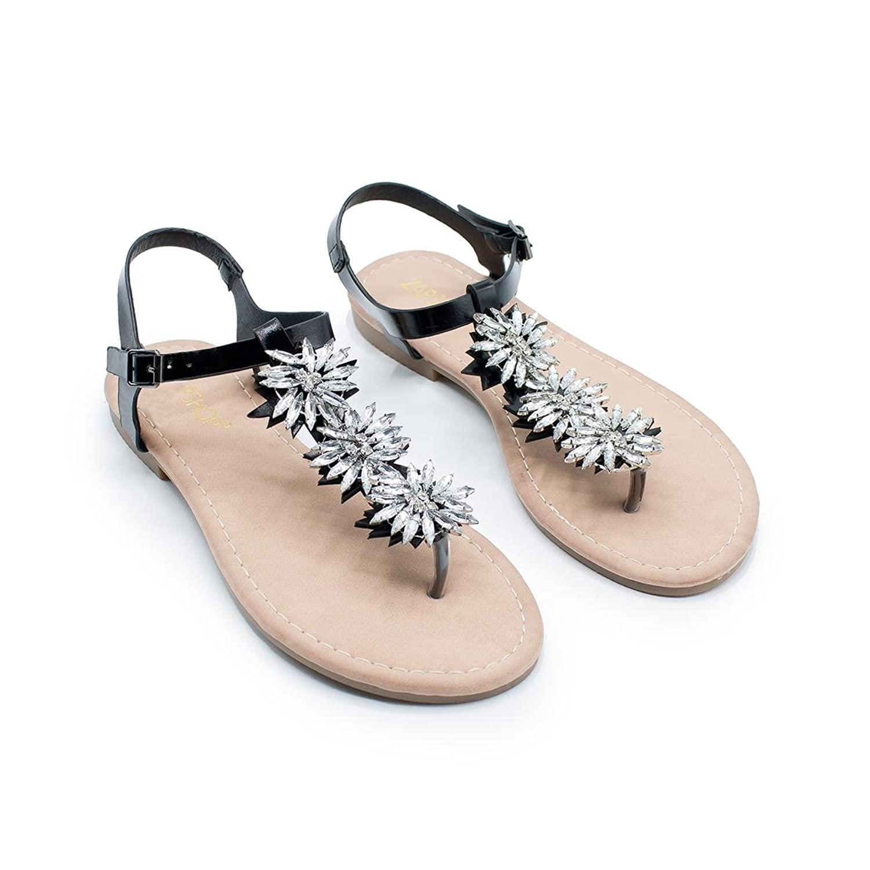 b353ed33948 Outlet ZAPSHOP ZSP-1822 Sandalias Planas al Dedo con Perlas sintéticas para  Mujer de Color