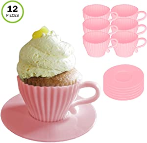 Evelots Silicone Baking Teacup Set W/Saucers-Cupcake Mold-Reusable-12 Pieces