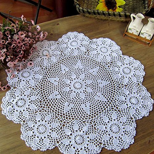 New Tablecloth - Laivigo New Handmade Crochet Lace Round Table Cloth Doilies Doily,35 Inch,White