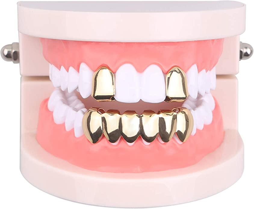 Extra Molding Bars Microfiber Cloth TSANLY 24K Gold Plated Grillz Single Top /& Bottom for Mouth Teeth Grill Men Hip Hop Grills