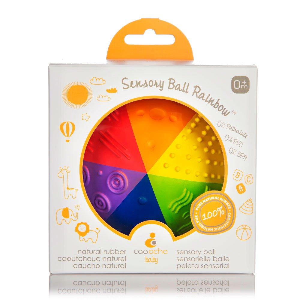 CaaOcho Baby - 4'' Natural Rubber Sensory Ball Rainbow - BPA, Phthalates, PVC Free, Food-grade paint