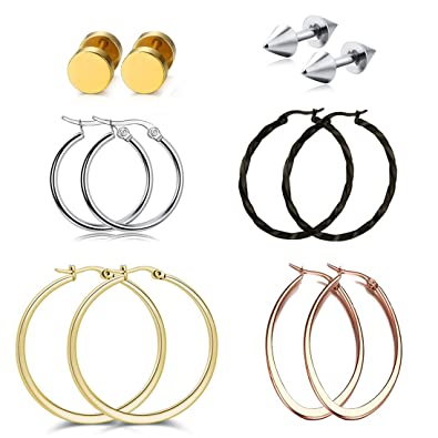 Rose Gold Hoop Earrings Sleeper Big Round Silver Black Color Womens Gift oTDAOT7
