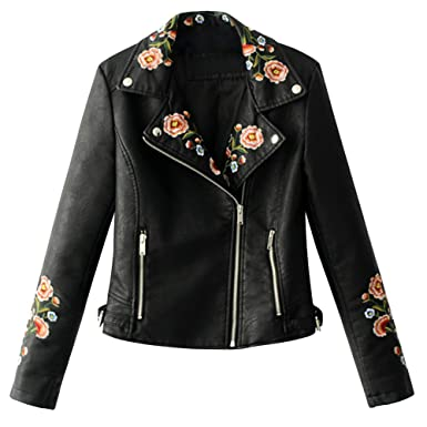 Elfremore Women Embroidery Floral Motorcycle Biker Leather Jacket Short Outerwear