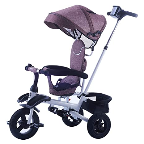 TH Triciclo para Niños Carro De Bebe Plegable 3 In1 con Barra De Manija Desmontable,