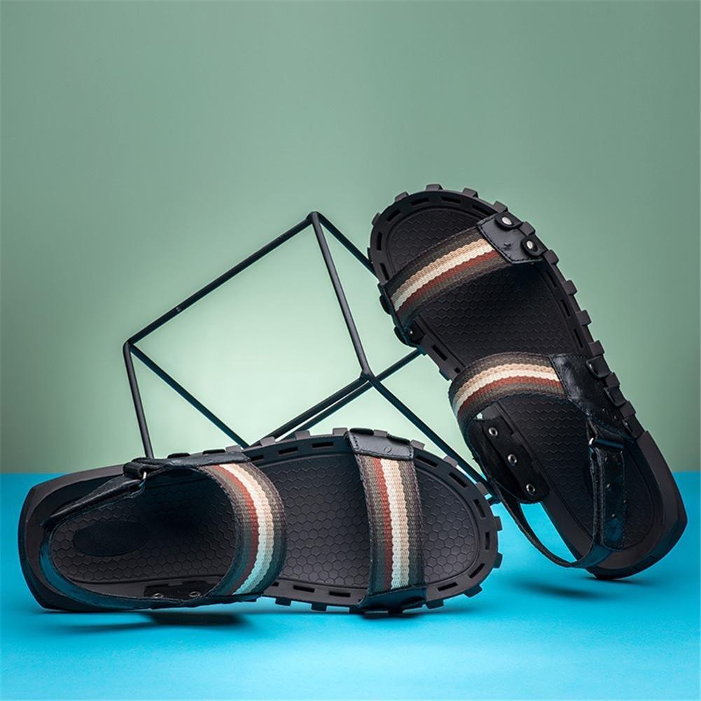 NSLXIE Männer Schuhe Strand aus Echtem Leder Sandalen Strand Schuhe Sommer Offene Zehe Ziehen auf Slipper Atmungsaktive Folien Rutschfeste Weiche Sohlen Größe 38 bis 45, Schwarz, EU45 schwarz-eu44 2f9c16