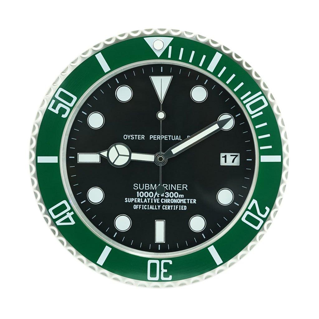 reloj de pared Decorativo clásico se Ilumina en la Oscuridad, silencioso, sin Tic-TAC, de 16 Pulgadas en Negro y Plateado (Color : B): Amazon.es: Hogar