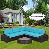 Diensday Outdoor Sectionals Sets Clearance Sofa Sectional Cushions Conversation Set, Aluminum Frame, Fully Assembled(6pc, Blue) For Sale