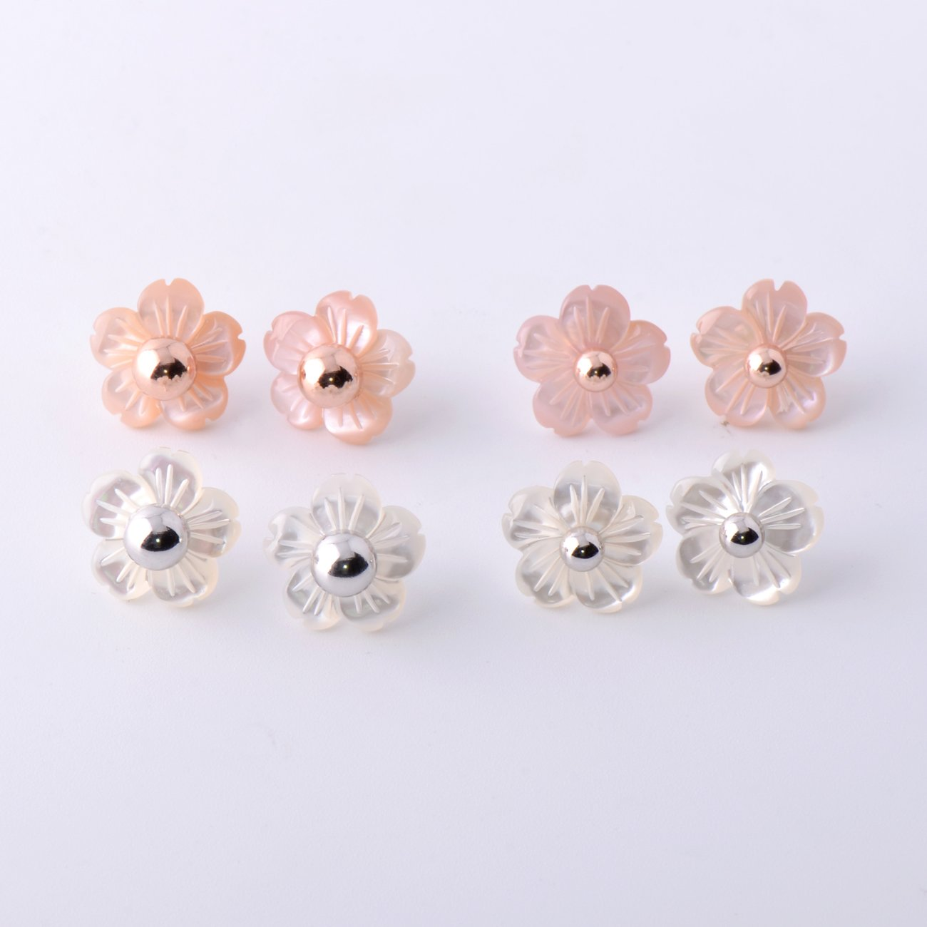 Paialco Mother of Pearl Flower Shape Earring Jackets Ball Silver Tone 6MM by Paialco (Image #4)