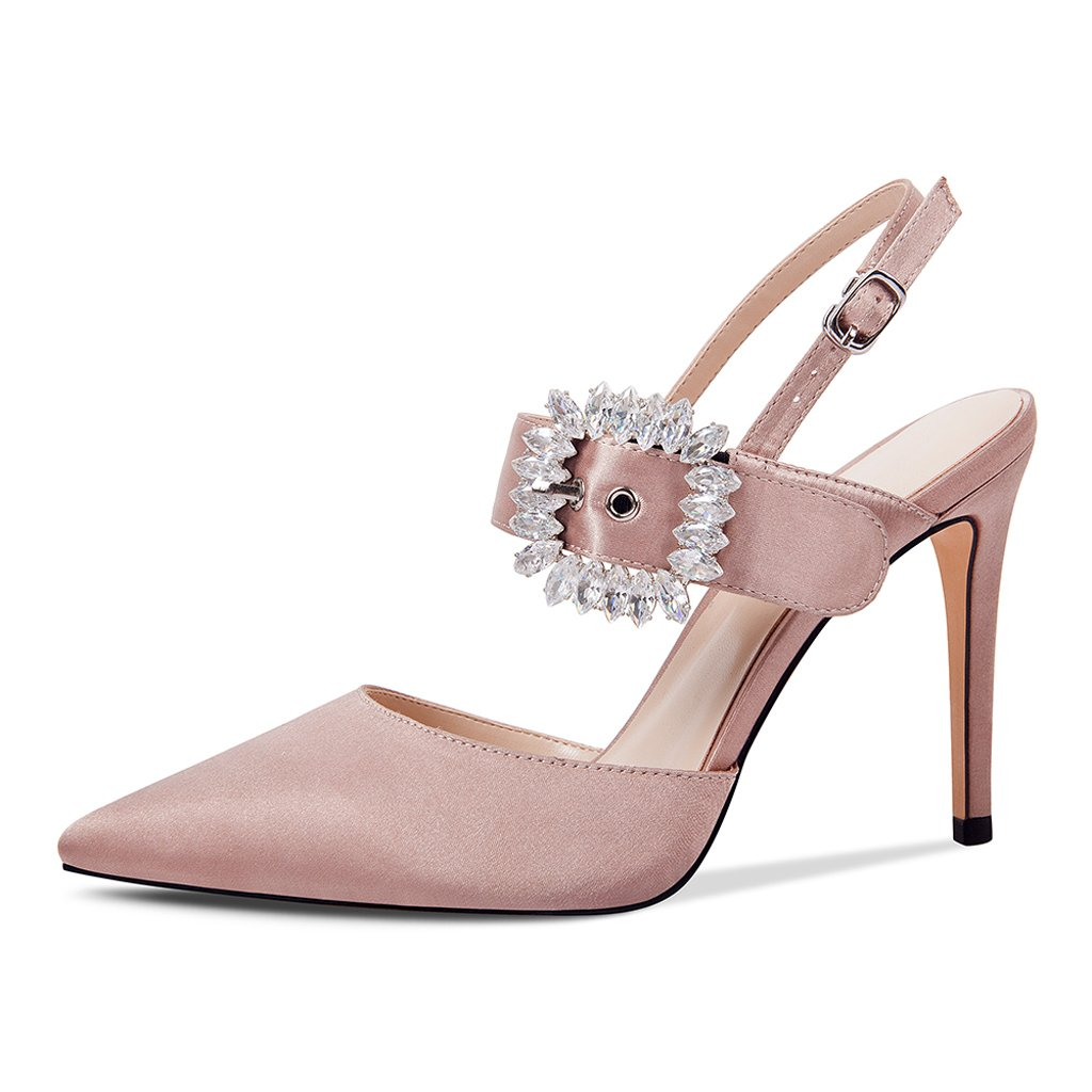 JE schuhe Strass Hochhackige Spitze Schuhe Feine Baotou Römersandalen (Farbe   Rosa Größe   35)