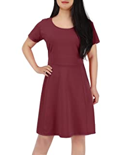 bc02a439eec HDE Women s Plus Size Short Sleeve Flared Casual Summer A-Line Midi Dress
