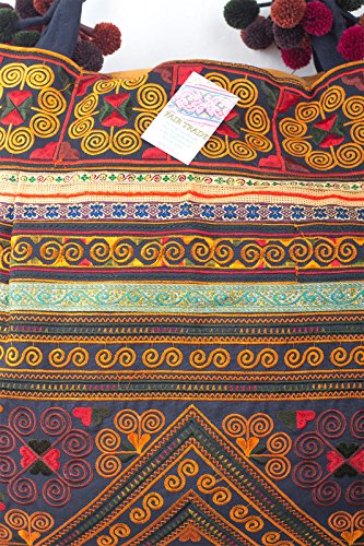 Embroidered Hmong Changnoi Large Fabric Orange Unique Bag Hill Size Tote Tribes g4wqYHTwx