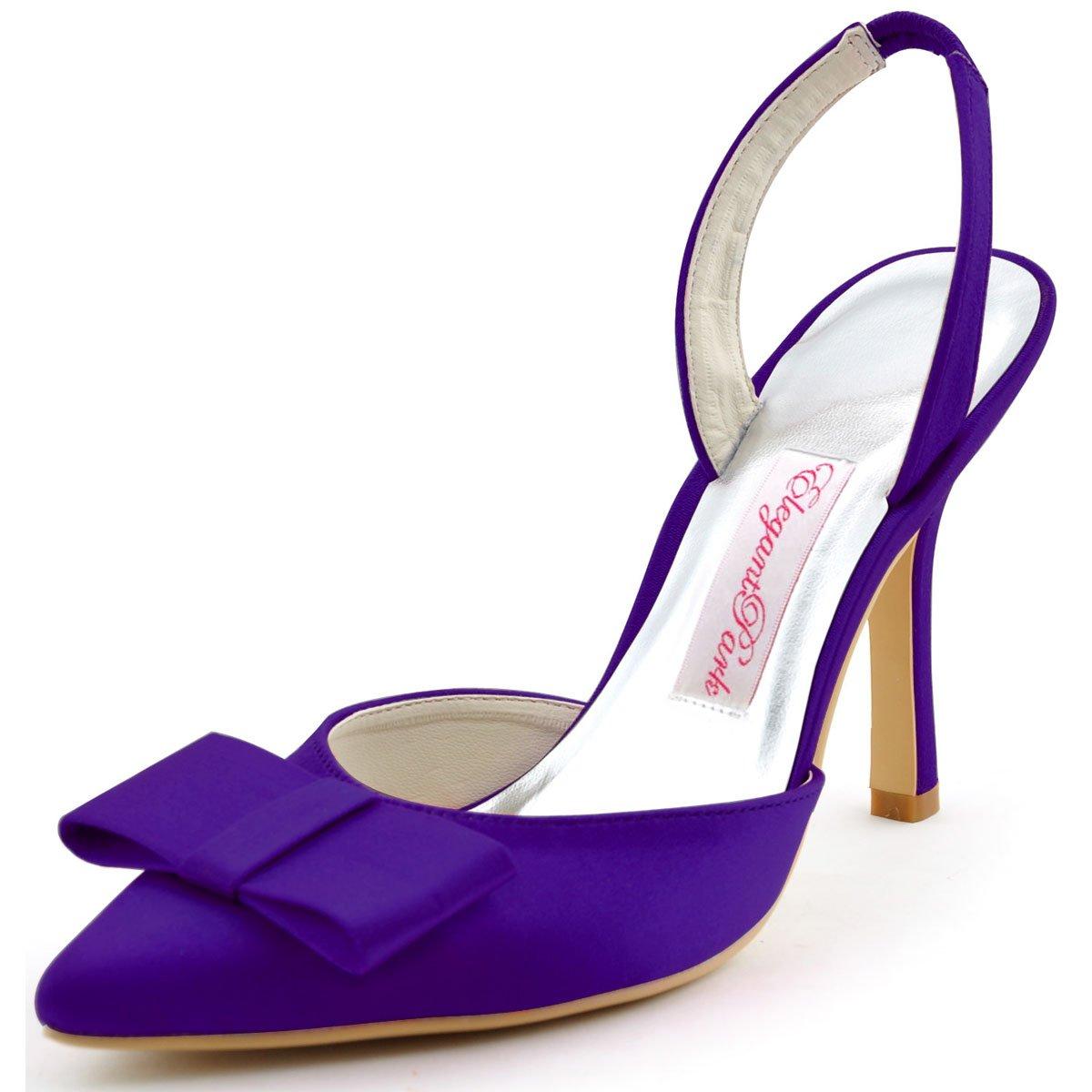 Elegantpark HC1404 Violet bout arrière pointu arc bride arrière Satin Escarpins Femmes sandale Satin Chaussures de mariée Violet 0954841 - epictionpvp.space