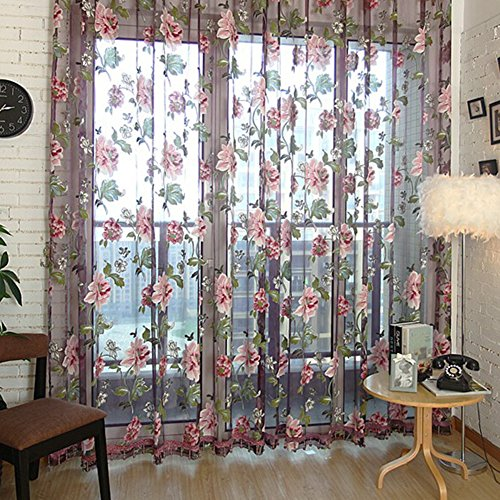 High Quality Edal Durable Floral Tulle Voile Voile Curtain Sheer Panel Drape Window  Scarfs Wine Red Flower With Purple Background And Beads