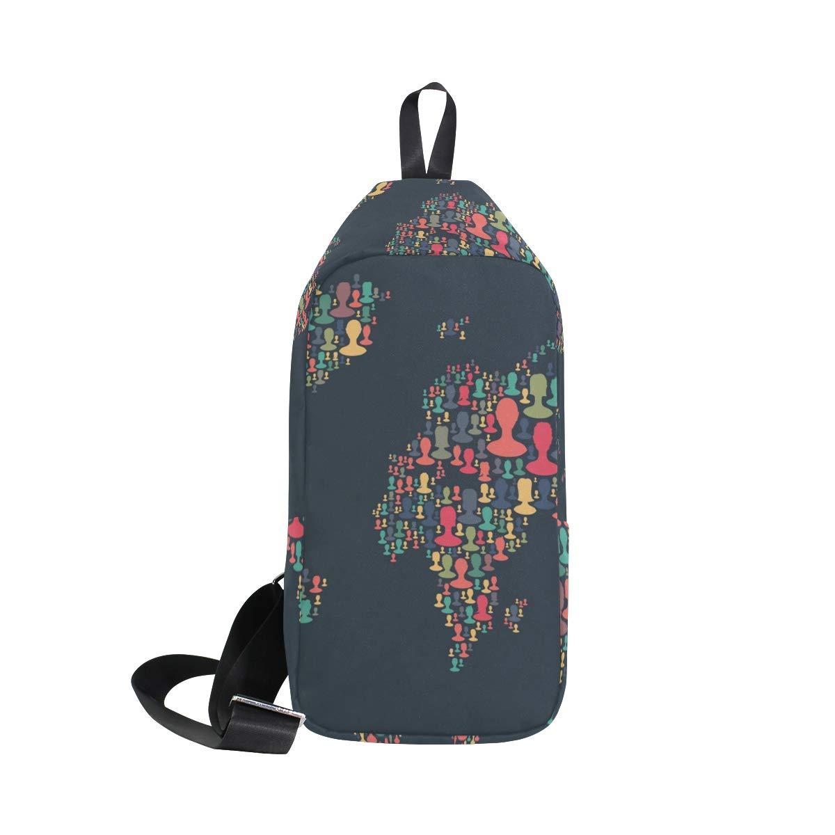 AHOMY World Map People Messenger Bag Small Travel School Sling Bag Crossbody Bag