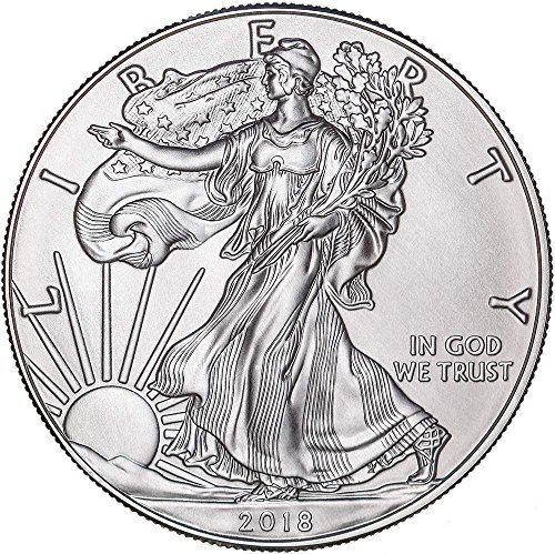 2018 American Silver Eagle with capsule $1 Brilliant Uncirculated US Mint with a Custom Gift Box (Mint Us Silver Coins)