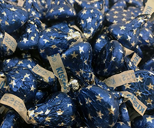 LaetaFood Bag - Hershey's Kisses, Milk Chocolate Blue Star Foils (Pack of 2 - Star Blue Foil