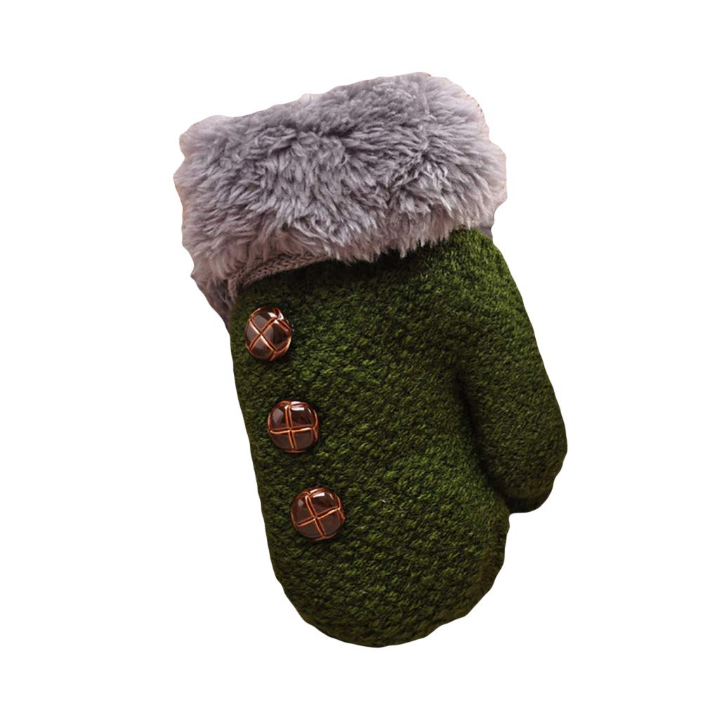 WillowswayWWinter Kids Children Gloves Full Finger Warm Soft Buttons Knitting Mittens Holiday Gift