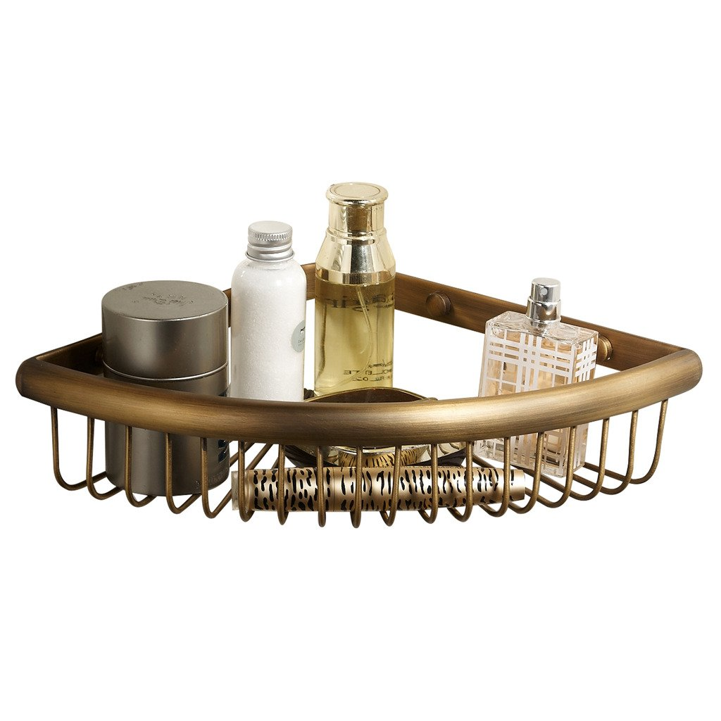 Corner Basket for Bathroom by MAMOLUX ACC| Solid Brass Shower Basket Shelf Tidy Rack Caddy Storage Organizer Antique Bronze Finish|Space Saving Toiletries/Cosmetics Holder