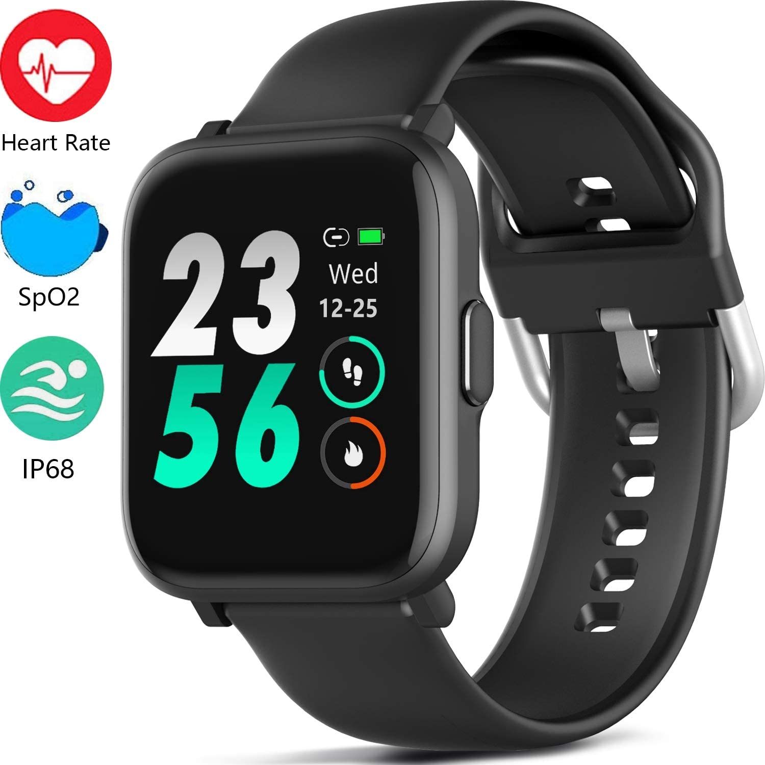 MorePro 18 Sports Mode Smart Watch with Music Control, DIY Screen Fitness Tracker with Blood Oxygen Heart Rate Monitor, Sleep Tracker with Pedometer Step Calories Counter for Men Women